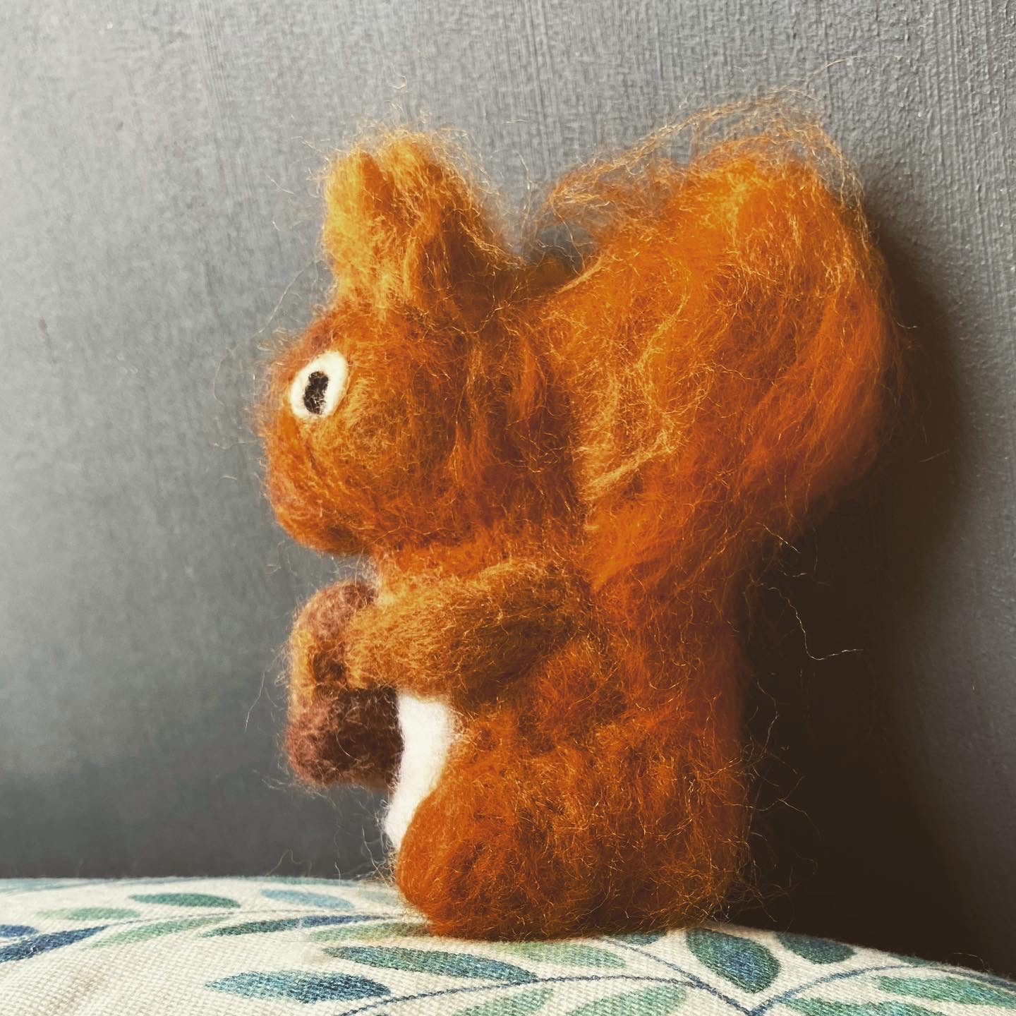 This sneaky squirrel, created using the dry felting technique, was caught dashing about the house with his acorn! English wildlife can sometimes turn up where you least want it!